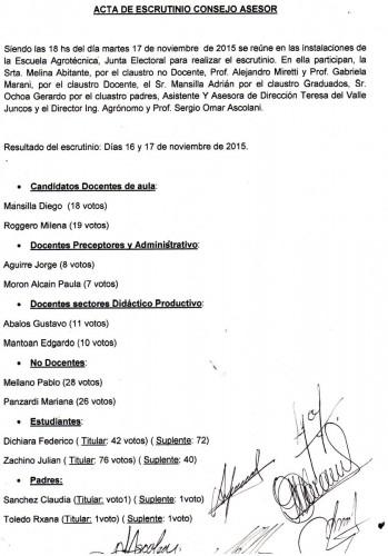 ESCRUTINIO DEL CONSEJO ASESOR.- Noviembre de 2015