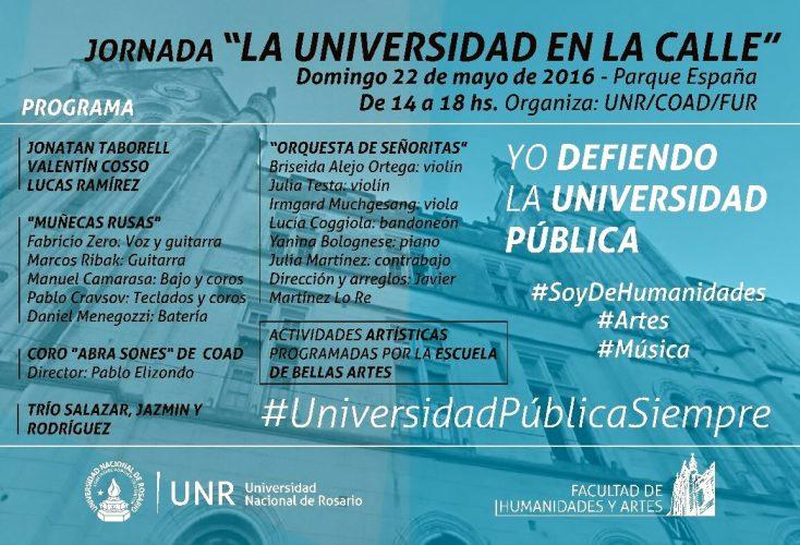 LUNES 23 y MARTES 24 DE MAYO HABRÁ CLASES EN NUESTRA ESCUELA. DOMINGO 22 JORNADA LA UNIVERSIDAD EN LA CALLE