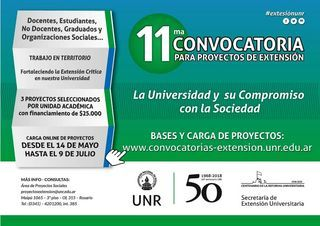 11ª CONVOCATORIA PARA PROYECTO DE EXTENSIÓN