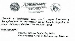 INSCRIPCIÓN PARA CUBRIR CARGOS INTERINOS Y REEMPLAZANTES DE PRECEPTORES EN LA ESCUELA SUPERIOR DE COMERCIO DE ROSARIO.