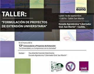 SE DICTARÁ EN LA ESCUELA UN TALLER PARA LA FORMULACIÓN DE PROYECTOS DE EXTENSIÓN