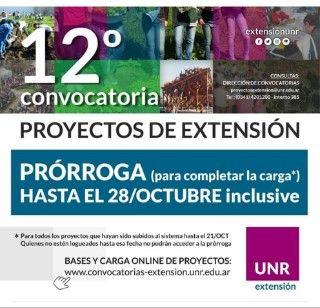 SE PRORROGÓ EL CIERRE DE LA 12º CONVOCATORIA PROYECTOS DE EXTENSIÓN