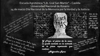 24 DE MARZO DÍA DE LA MEMORIA POR LA VERDAD Y LA JUSTICIA