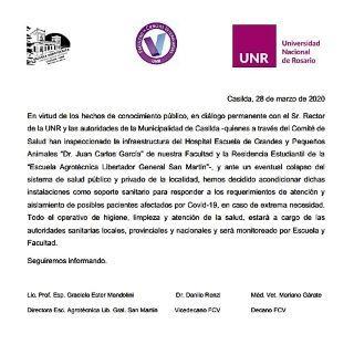 COMUNICADO INTERINSTITUCIONAL AUTORIDADES ESCUELA AGROTÉCNICA Y FACULTAD DE CIENCIAS VETERINARIAS