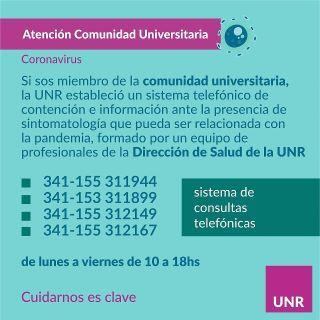 UNR - LÍNEAS TELEFÓNICAS PARA CONSULTAS SANITARIAS.