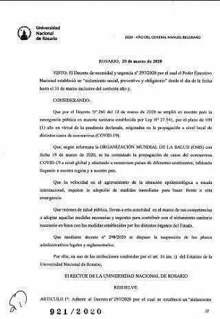 RESOLUCIÓN RECTOR 921/2020, EN ADHESIÓN AL DECRETO PRESIDENCIAL N° 297/2020