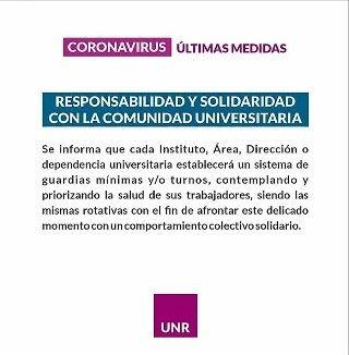 CORONAVIRUS ÚLTIMAS MEDIDAS. LA ESCUELA AGROTÉCNICA FUNCIONARÁ SÓLO CON GUARDIAS MÍNIMAS.