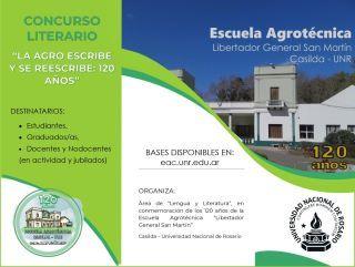 """CONCURSO LITERARIO """"LA AGRO ESCRIBE Y SE REESCRIBE: 120 AÑOS"""" PARA ESTUDIANTES, GRADUADOS/AS,  DOCENTES Y NODOCENTES (ACTIVOS Y JUBILADOS)"""