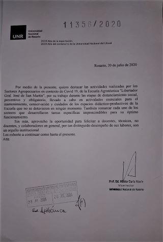 FELICITACIONES PARA EL PERSONAL DE LA ESCUELA AGROTÉCNICA DEL SR. VICERRECTOR PROF. OD. HÉCTOR DARÍO MASÍA