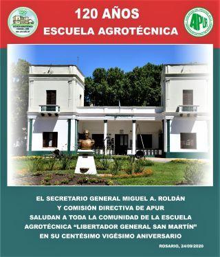 SALUDOS DE LA ASOCIACIÓN DEL PERSONAL NODOCENTE DE LA UNIVERSIDAD NACIONAL DE ROSARIO (APUR) CON MOTIVO DE LOS 120 AÑOS DE LA ESCUELA
