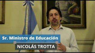 SALUDO DEL SR. MINISTRO DE EDUCACIÓN DE LA NACIÓN, ABOG. NICOLÁS TROTTA, A NUESTRA ESCUELA EN SU 120° ANIVERSARIO